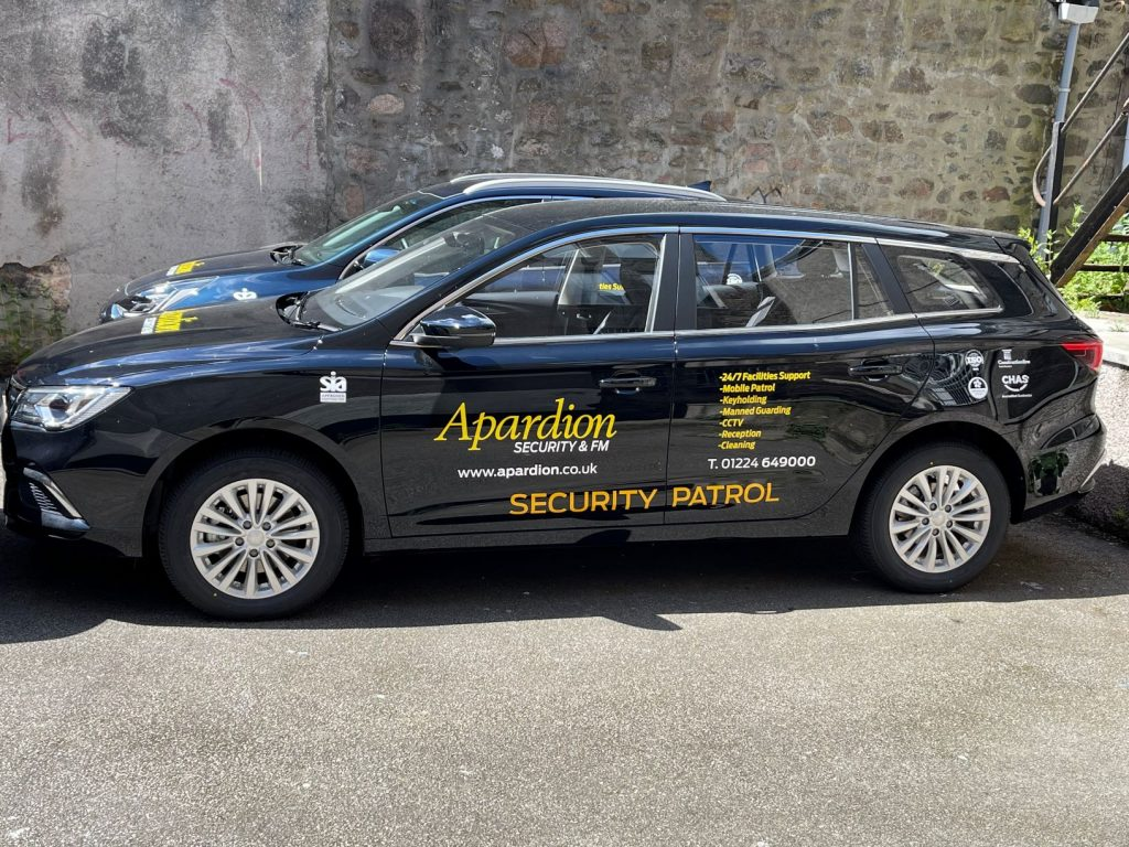 Aberdeen Security - Facilities Management | NEW FULLY ELECTRIC CAR TO JOIN APARDION MOBILE PATROL FLEET - Apardion